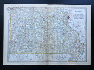 Antique Map Of Missouri Southern Kansas City St Louis  North America  1903