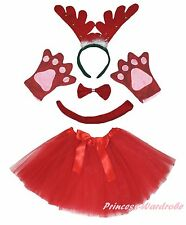 Xmas Party Adult Women Red Ring Reindeer Headband Paw Tail Bow Skirt Costume Set