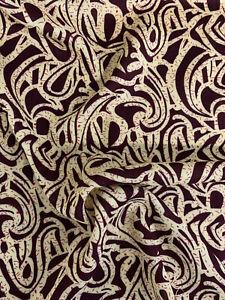 5 Metres Dark Wine Abstract 100% Viscose Summer Printed Dress Fabric