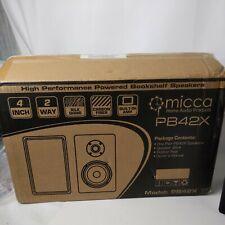"Micca PB42X Powered Bookshelf Speakers W/ 4"" Carbon Fiber Woofer & Tweeter PAIR"