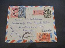 1952 Bangui Central African Republic Uganda Registered Airmail Franking Cover