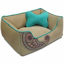 Small Dog Cat Bed Paisley Aqua Tan MicroSuede Machine Wash Cover Chew Resistant