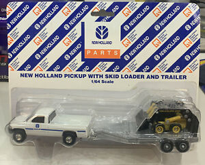Ertl New Holland Diecast 1/64 Pick Up With Skid Loader Bobcat And Trailer