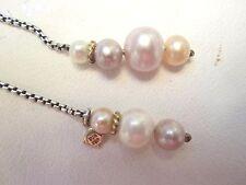 "David Yurman 36"" Boxchain Lariat Necklace With 6 Pastel Pearls 18k Gold Trim"