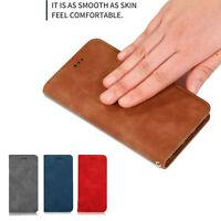 For Motorola Moto G7 Power Luxury Slim Card Wallet Matte Leather Flip Case Cover