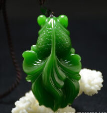 New China natural Green jade pendant Necklace Amulet Lucky fish