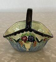 "Vintage Ceramic Floral Majolica Mahuton Style Basket Japan 4.5"" X 3"""