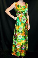 M~L Green Hawaiian Floral Vtg 60s MOD LIBERTY HOUSE Shelf Bust Empire Maxi Dress