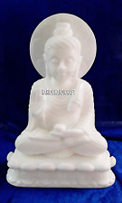 "6"" Exclusive Marble Buddha Statue Religious Collectible Handmade Art Gifts H4249"