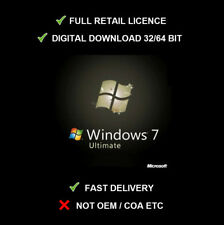 Microsoft Windows 7 Ultimate Retail Clé SP1 32/64 bit Version complète Updatable!