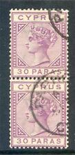 Cyprus 1882-94 Die 2 30p 'damaged US' variety used pair 4 (2017/06/12/#16)