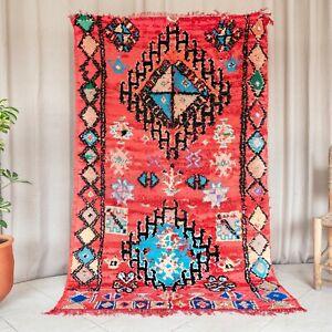 7.5×4.4' Red Medium Vintage Handmade Wool Boujaad Area Rug Moroccan Living Room