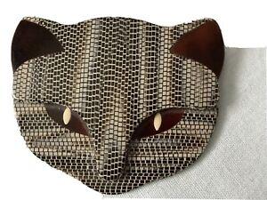 Lea Stein Atilla cat Face brooch ,brown/grey .