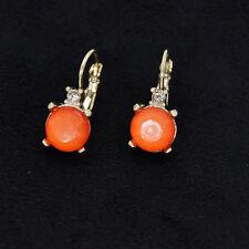 Boucles d`Oreilles Dormeuse Doré Petit Rond Rose Orange Leger FF2