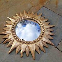 "Vintage Gold Colored Carved Gilt Wood Starburst Star Mirror ~ 16"" Diameter"