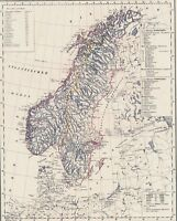 Landkarte SCHWEDEN NORWEGEN🐺🐾🦊🐿️ Echte 178 Jahre alt - Sverige Norge 1842