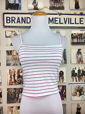 New! Brandy Melville Soft Stretchy Pink Blue Striped Crop Faye Tank Top Nwt