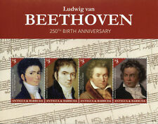 More details for antigua & barbuda music stamps 2020 mnh ludwig van beethoven composers 4v m/s