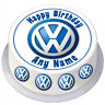Volkswagen Birthday Round Edible Cake Topper Personalised for 7/8 inch Cake VW