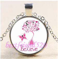 Belive Breast Cancer Awareness Cabochon Glass Tibet Silver Pendant Necklace#CE47