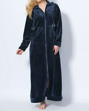 Dreams & Co. Plus Size Navy Plush Hooded Long Robe Size 1X(22/24)