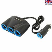 3 Way DC12V Multi Socket Car Cigarette Splitter Lighter Adapter USB Plug Charger