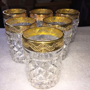 6 VINTAGE GOLD RIM WHISKEY ROCKS GLASSES NICE DESIGN