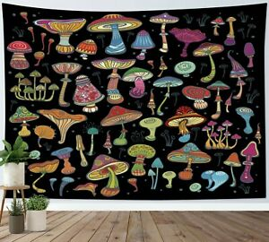 Psychedelic Mushroom Tapestry Boho Plants Wall Hanging For Living Room Bedroom