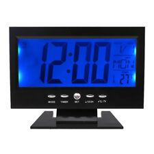 Black LCD Digital Table Desktop Clock Calendar Temperature Alarm Snooze Timer