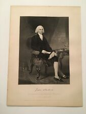 S12) President James Madison Constitution c.1867 Engraving Alonzo Chappel