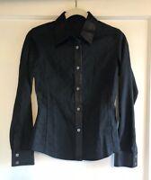 Tom Ford For Gucci GG Logo Monogram Black Leather Trim Shirt Jacket Size 38 XS