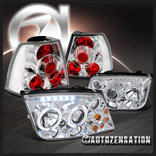 For 99-05 Jetta Bora MK4 Chrome Halo LED Projector Headlights w/ Fog+Tail Lamps