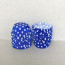 MINI Royal Blue Polka Dot Cupcake Liners, Mini Cupcake Wrappers, Blue Candy Cups