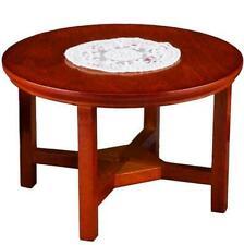 Reutter Dollhouse Miniature Round Wood Patio Garden Table w Doily 001.814/9