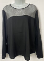 Ann Taylor Womens Black Blouse Beige Lace On Top Size Large Long Sleeve Shirt