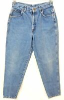 Womens CHIC Vintage 80's 90's Tapered HIGH-WAISTED Blue Jeans M L