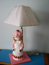 "OOAK STRAWBERRY SHORTCAKE 23"" LAMP Heavy Bisque, Wooden Base, New Shade"