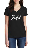 Ladies V-neck Joyful T-Shirt Present Tee T Shirt X-mas Christmas Present Gift