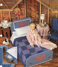 """""""BED w/DRAWERS""""~Plastic Canvas PATTERN~PATTERN ONLY fits BARBIE FASHION DOLL"""