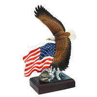 9 Inch American Bald Eagle and Flag Statue Collectible Patriotic Figurine Figure
