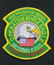 USAF PATCH 158th FIGHTER WING OPERATION NOBLE EAGLE SEPTEMBER 11 2001 FUL COLOR