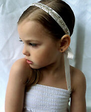 Wedding Bridal Flower Girl Hair Communion Rhinestone Beaded Headband Ribbon