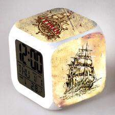 Reveil cube led lumière nuit alarm clock voilier personnalisé prénom  réf 07