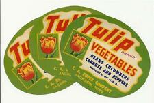 Wholesale 25 Tulip Brand Vegetable Crate Labels From C. A. Roper in Jackson, Ms.