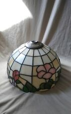Vintage Tiffany Style Stained Glass Floral Lamp Shade 10""