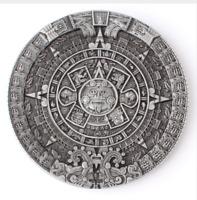 Pewter AZTEC CALENDAR Belt Buckle Mayan Indian DETAILED