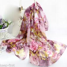 Women's Fashion Peony Flower Silk Chiffon Scarf Wrap Shawl Stole Neck Scarves