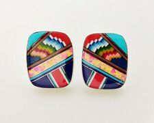 INTRICATE MULTICOLOR OPAL TURQUOISE ONYX SPINY INLAY .925 SILVER STUD EARRINGS