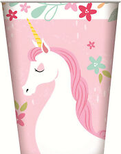 Unicorn Party Paper Cups 8PK Party  266ml Girls Birthday Drink My little