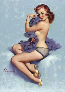Gil Elvgren - Pinup Girl - A4 21x29.7cm Retro Canvas Art Print Poster Unframed